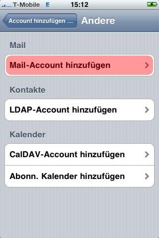 E-Maileinrichtung für iPhone und iPad